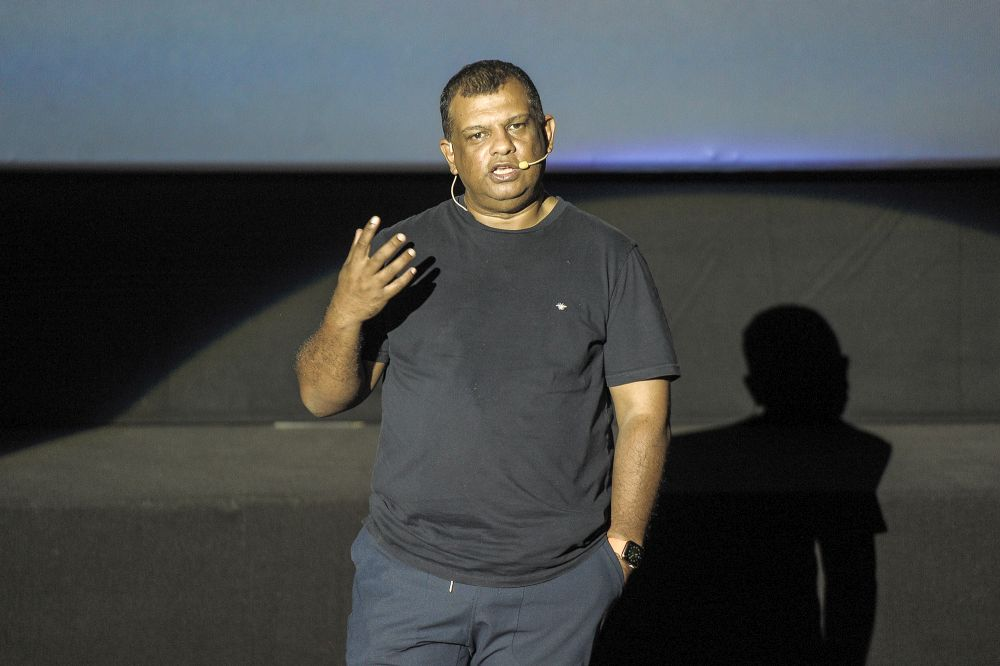 AirAsia Group CEO Tony Fernandes delivers his keynote address during the AirAsia Digital media briefing at NU Sentral, Kuala Lumpur September 24, 2020. — Picture by Shafwan Zaidon