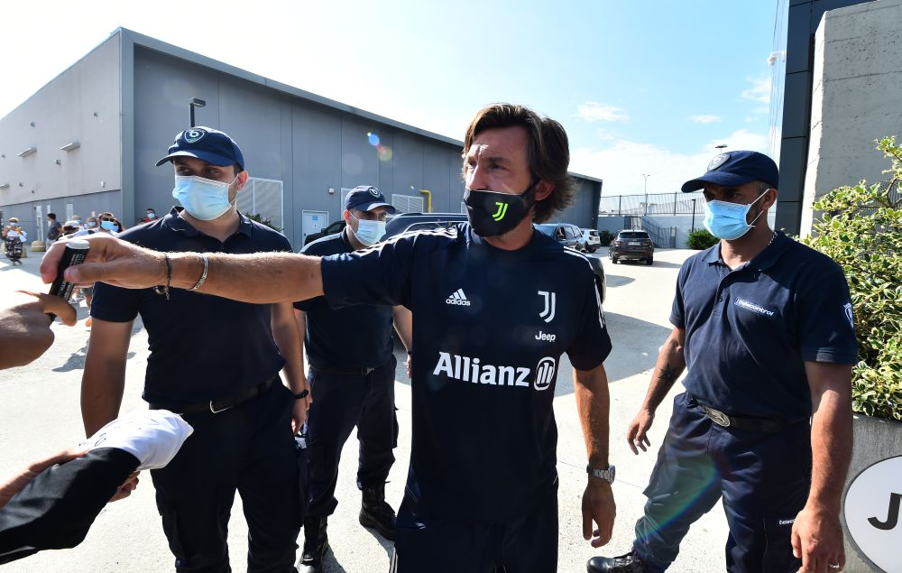 New Juventus coach Andrea Pirlo arrives at the Juventus Training Centre in Turin August 24, 2020. — Reuters pic