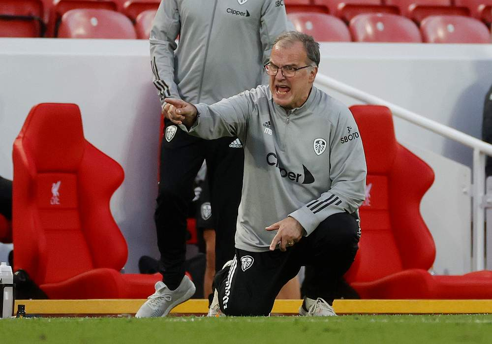 Leeds United manager Marcelo Bielsa reacts during the EPL match with Liverpool at Anfield, Liverpool September 12, 2020. — Reuters pic