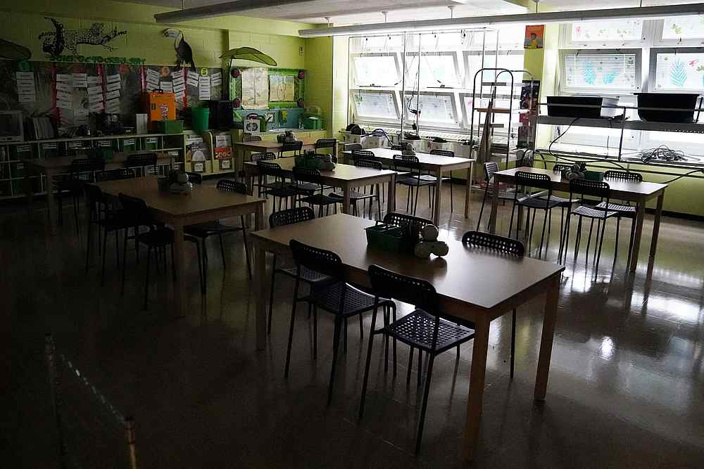 A dark and empty classroom at PS 59 in the Brooklyn borough of New York September 2, 2020. — Reuters pic