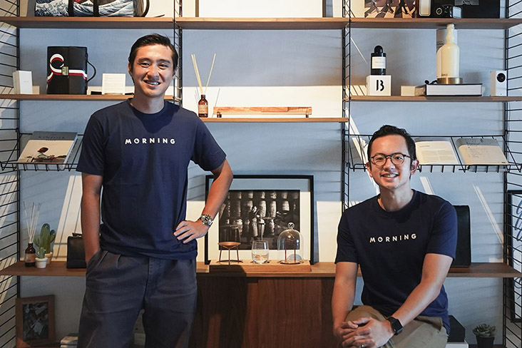 The two co-founders of Morning, a subscription based curator of coffee capsules from roasters around the world: Leon Foo (left) and Andre Chanco (right)