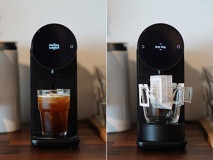 """Experiment with the Morning Machine – why not try a """"cold-shot"""" espresso (left) or a single-serve coffee drip bag (right)?"""