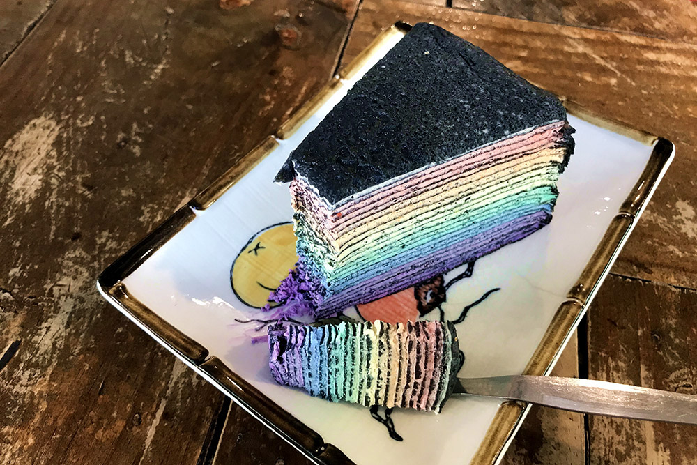 Second Floor's charcoal rainbow 'mille crêpe' will brighten up anybody's day. — Pictures by Kenny Mah and courtesy of Ferlyn Jee