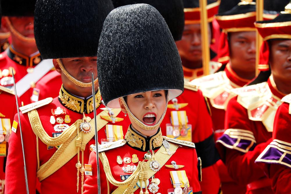 Sineenat Wongvajirapakdi, Thai King Vajiralongkorn's royal consort takes part in the Royal Cremation ceremony of Thailand's late King Bhumibol Adulyadej near the Grand Palace in Bangkok, Thailand, October 26, 2017. — Reuters pic
