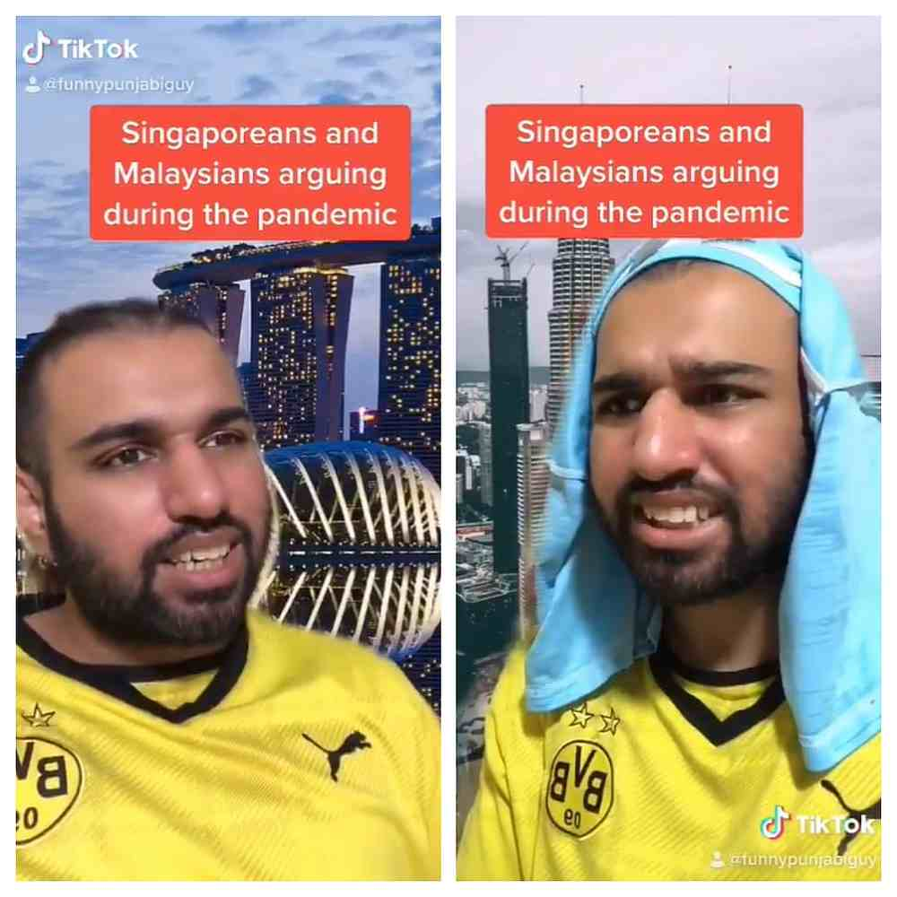 Calvin Singh plays a Malaysian and a Singaporean comparing their lives during the Covid-19 pandemic. — Twitter/FunnyPunjabiGuy screengrabs