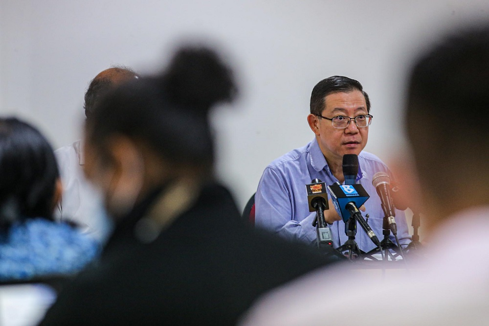 DAP secretary-general Lim Guan Eng speaks at the party's headquarters in Kuala Lumpur on September 1, 2020. — Picture by Hari Anggara