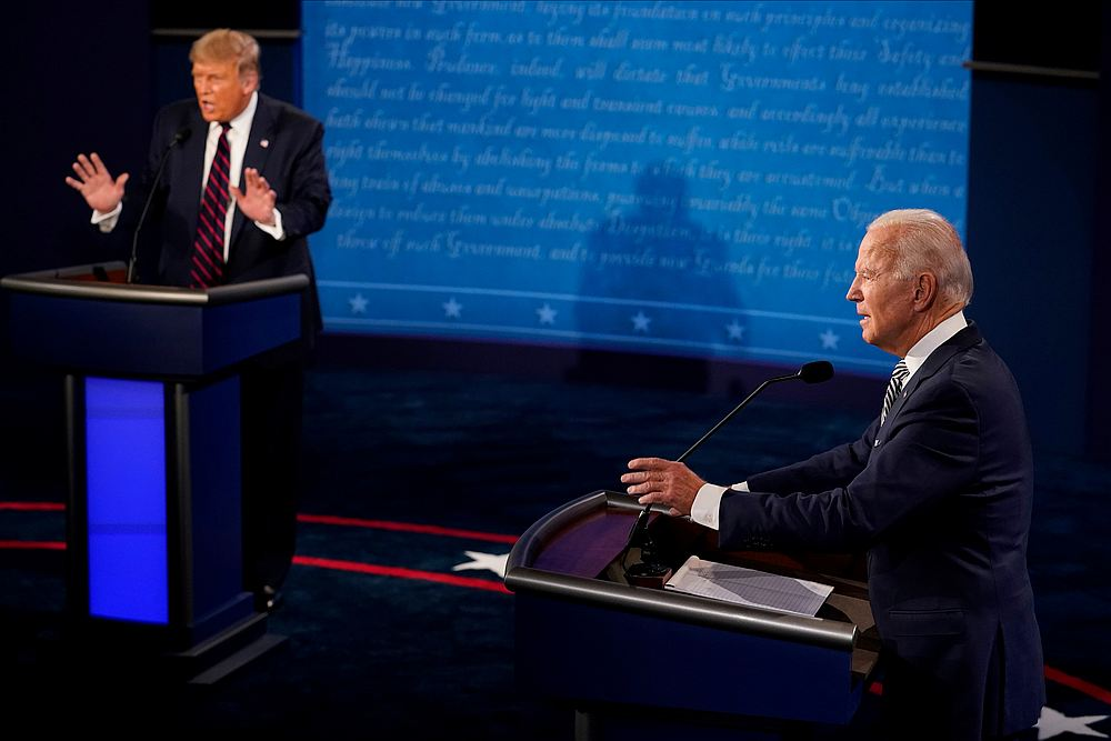 US President Donald Trump and Democratic presidential nominee Joe Biden in their first 2020 presidential campaign debate at Case Western Reserve University in Cleveland, Ohio September 29, 2020. — Pool pic via Reuters