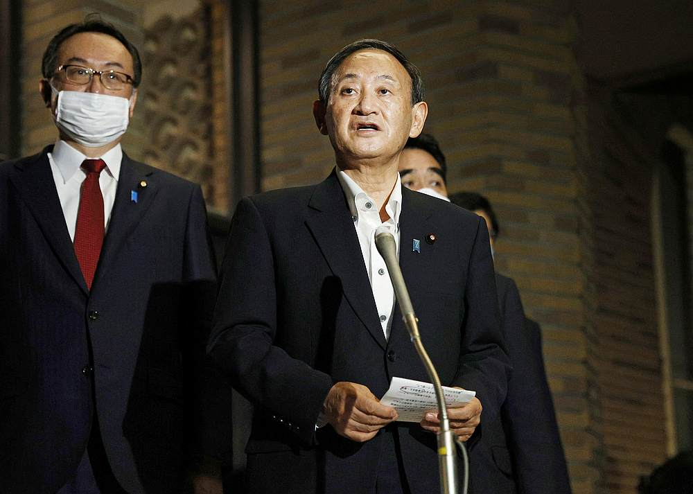 Japanese Prime Minister Yoshihide Suga meets the press at the prime minister's official residence after speaking on the phone with US President Donald Trump in Tokyo, Japan September 20, 2020. — Kyodo pic via Reuters