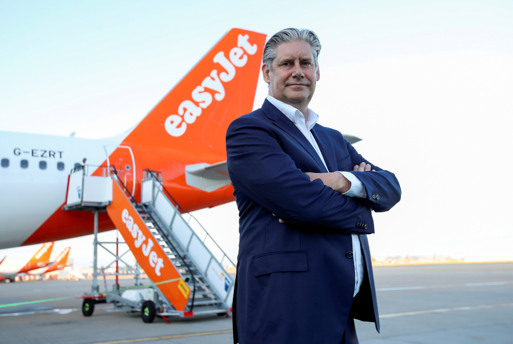 EasyJet CEO Johan Lundgren poses in front of an aircraft of the company at Gatwick Airport, in Gatwick, Britain June 15, 2020. — Reuters pic