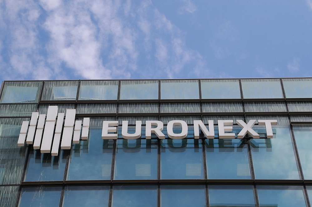 The Euronext logo on the company headquarters in the La Defense District on the outskirts of Paris, France April 27, 2020. — AFP pic