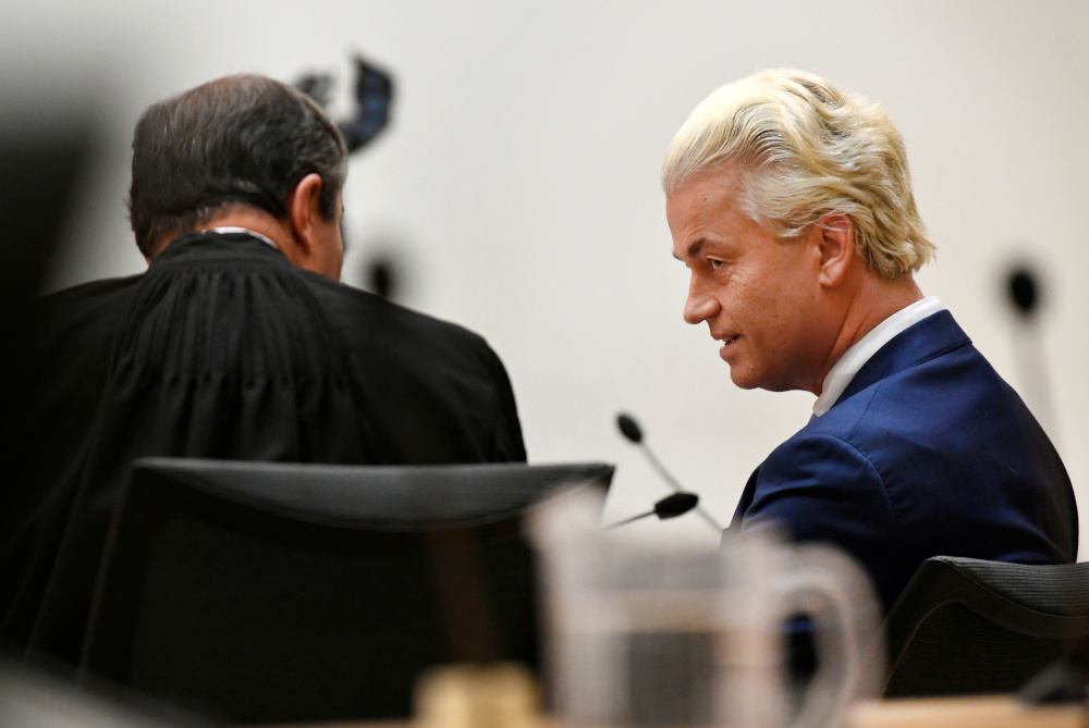 Dutch anti-Islam politician Geert Wilders appears in court for the verdict in his appeal trial in Schiphol near Amsterdam, Netherlands, September 4, 2020. — Reuters pic