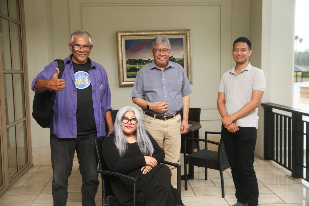 (From left) Haris Ibrahim, Siti Kasim, Tawfik Ismail and Amri Ahmad pose for a photo during an interview with Malay Mail September 5, 2020. — Picture by Choo Choy May