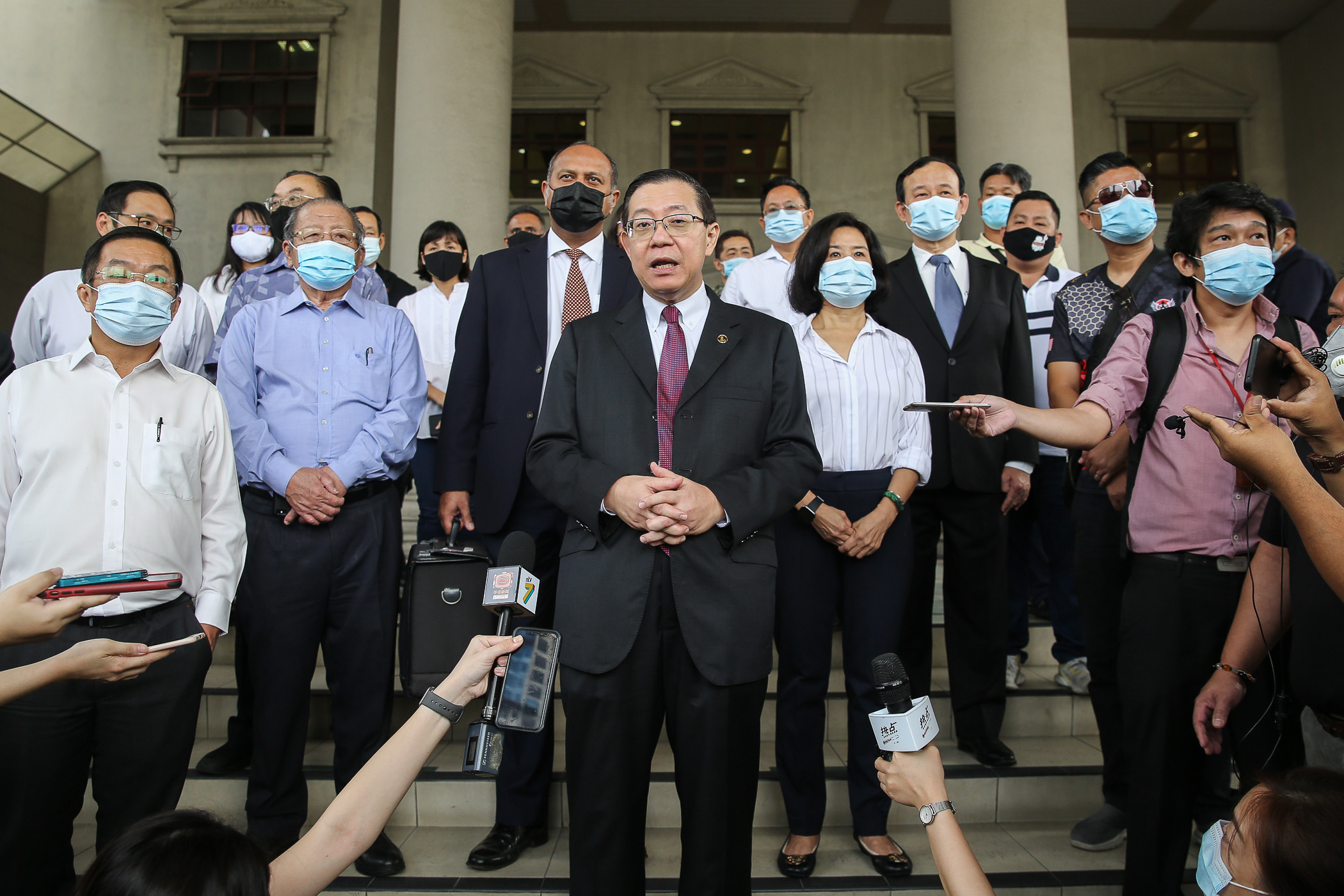Former finance minister Lim Guan Eng speaks to reporters at the Kuala Lumpur High Court September 9, 2020. — Picture by Yusof Mat Isa