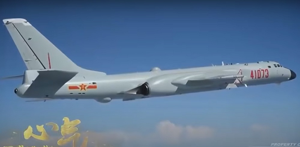 Screengrab from the YouTube video: Shocked! China's Navy Deploys New H 6J Anti Ship Cruise Missile Carrying Bombers.