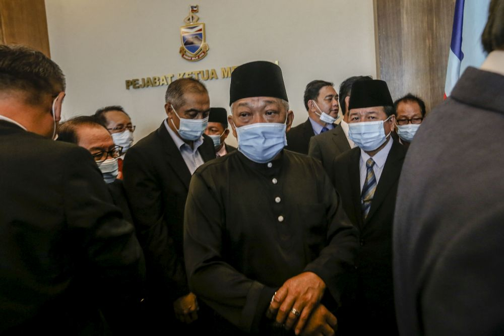 Sabah Deputy Chief Minister Datuk Seri Bung Moktar Radin is pictured at the state administrative building in Kota Kinabalu September 29, 2020. — Picture by Firdaus Latif