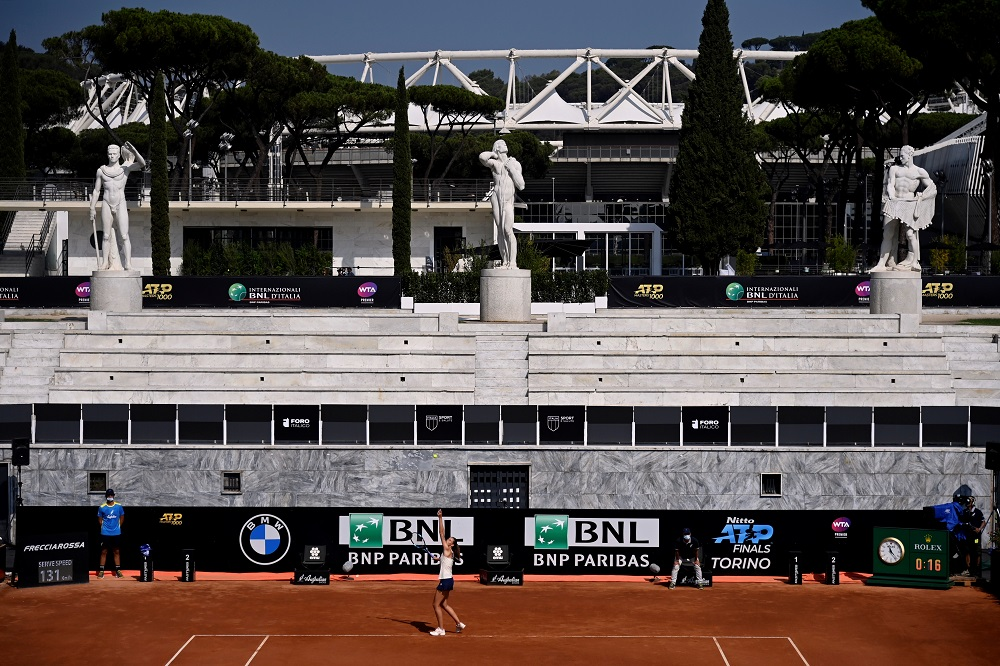 Czech Republic's Karolina Pliskova in action during her third round match against Russia's Anna Blinkova at the Italian Open in Rome September 18, 2020. ― Reuters pic