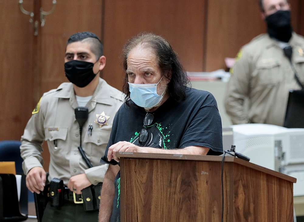 Adult film star Ron Jeremy, who has been charged with raping three women and sexually assaulting a fourth in incidents in West Hollywood from 2014 to 2019, appears in a Los Angeles court, California June 23, 2020. — Reuters pic