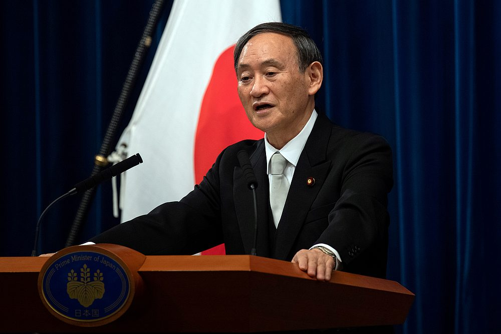 Yoshihide Suga speaks during a news conference following his confirmation as Prime Minister of Japan in Tokyo, Japan September 16, 2020. — Pool pic via Reuters