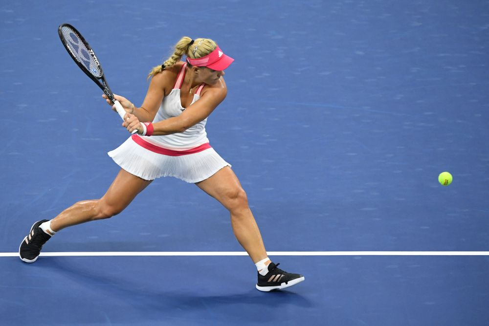 Angelique Kerber hits a backhand against Anna-Lena Friedsam on day three of the 2020 US Open tennis tournament at the USTA Billie Jean King National Tennis Center September 2, 2020. — Reuters pic