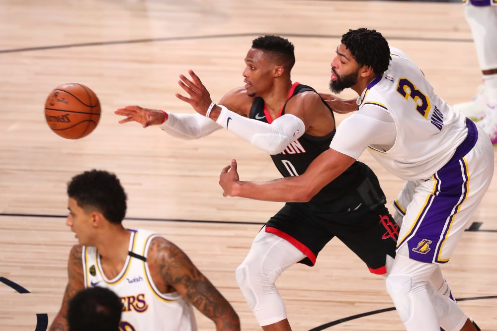 Los Angeles Lakers forward Anthony Davis (3) pressures Houston Rockets guard Russell Westbrook (0) during game three in the second round of the 2020 NBA Playoffs at AdventHealth Arena in Florida September 8, 2020. — Reuters pic