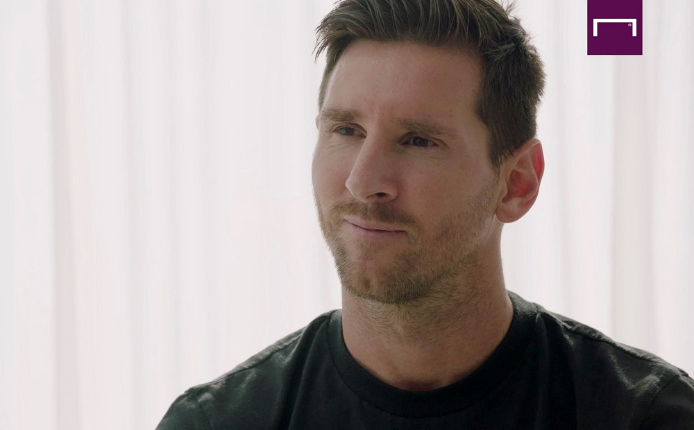 A screenshot of Lionel Messi speaking in an interview with Goal.com, September 4, 2020. ― Handout via Reuters