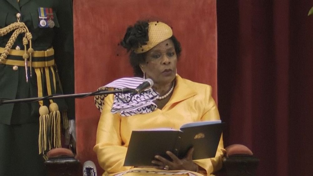 Barbados Governor General Sandra Mason Sandra Mason delivering a speech on behalf of the country's prime minister. — AFP pic