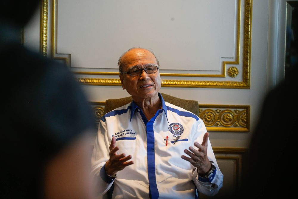 Tan Sri Lee Lam Thye speaks to the press at the Eastern & Oriental Hotel in George Town September 29, 2020. — Picture by Sayuti Zainudin