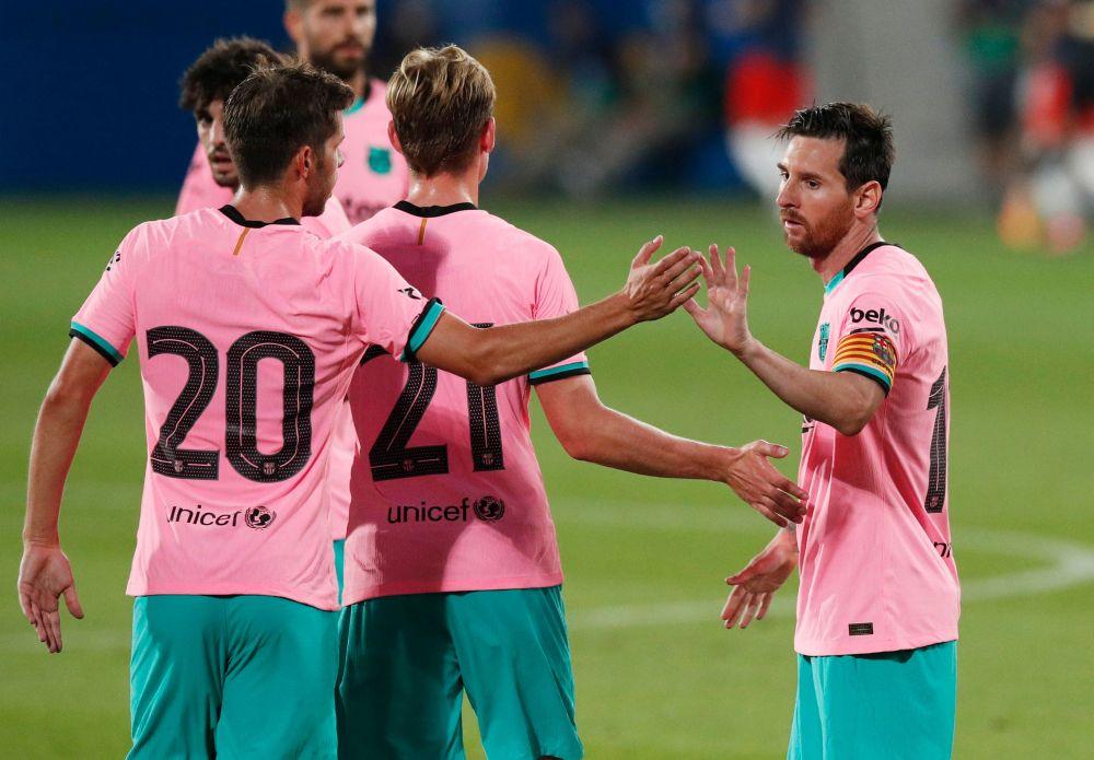 Barcelona's Lionel Messi celebrates scoring their third goal against Girona at the Johan Cruyff Stadium, Barcelona September 16, 2020. — Reuters pic