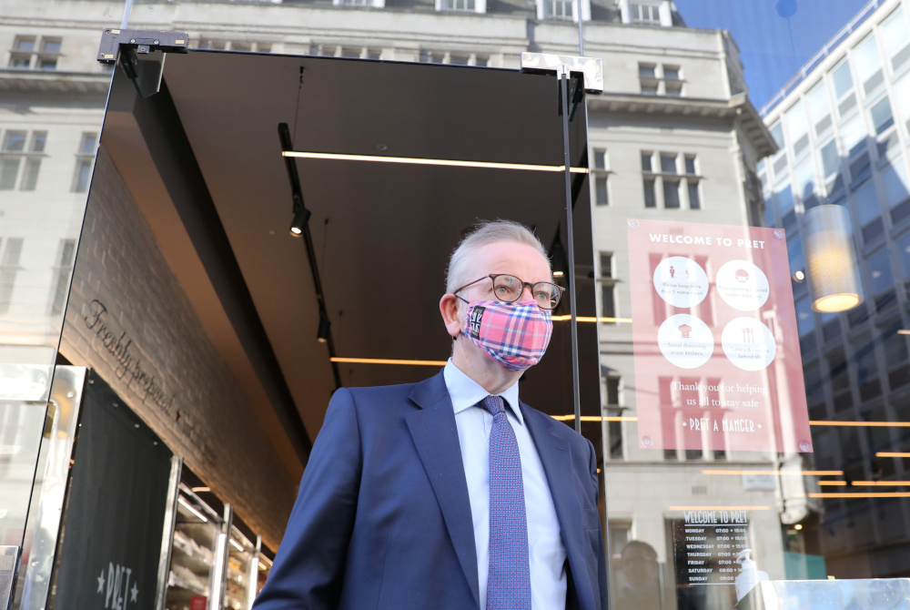 British minister Michael Gove leaves a coffee shop in Westminster, in London, Britain, September 10, 2020. — Reuters pic