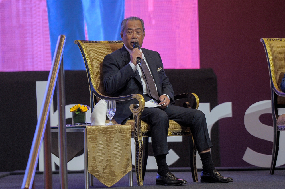 Prime Minister Tan Sri Muhyiddin Yassin said his government is fully focused on continuing the policy rolls out as planned and will not be distracted by any political challenges, including a takeover bid posed by Datuk Seri Anwar Ibrahim. — Picture by Shafwan Zaidon