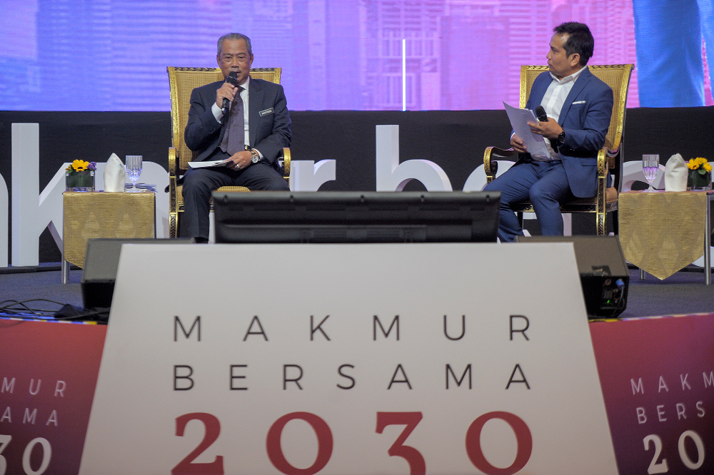 Prime Minister Tan Sri Muhyiddin Yassin delivers his speech during the  Shared Prosperity Vision 2030 Townhall at Kuala Lumpur Convention Centre (KLCC), September 29, 2020. — Picture by Shafwan Zaidon