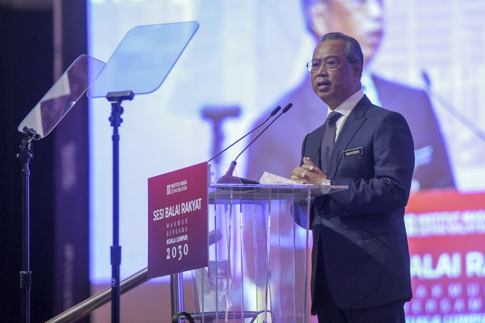 Prime Minister Tan Sri Muhyiddin Yassin delivers his speech during the Shared Prosperity Vision 2030 townhall session at the Kuala Lumpur Convention Centre September 29, 2020.  — Picture by Shafwan Zaidon