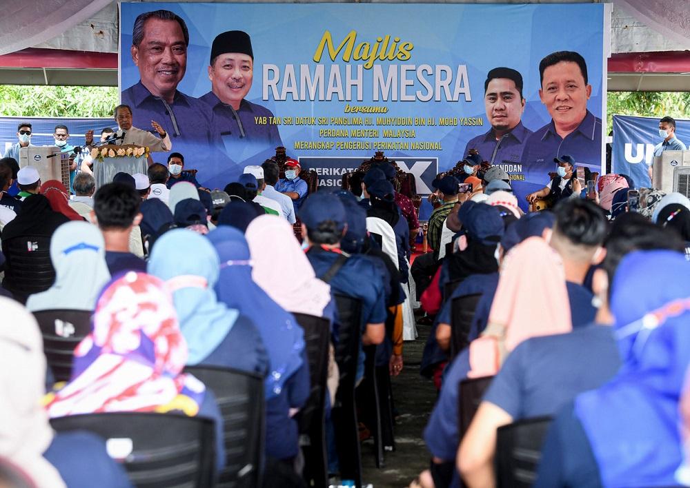 Prime Minister Tan Sri Muhyiddin Yassin speaks during a meet-and-greet session at Kampung Rampayan Laut in Kota Belud September 18, 2020. ― Bernama pic