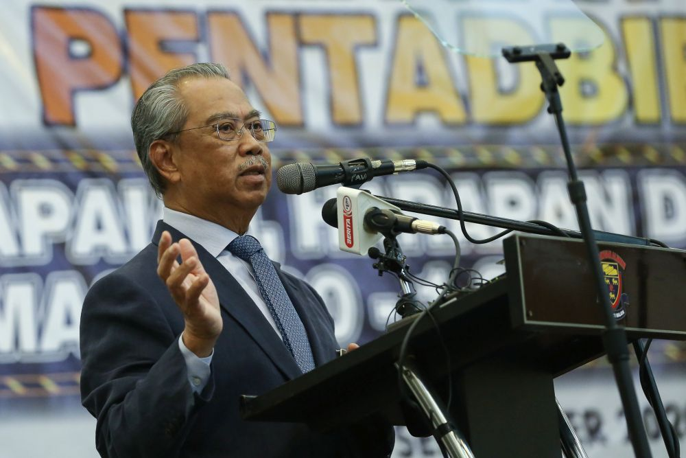 Prime Minister Tan Sri Muhyiddin Yassin delivers his speech during a Perikatan Nasional event at Universiti Malaya, Kuala Lumpur September 1, 2020. ― Picture by Yusof Mat Isa