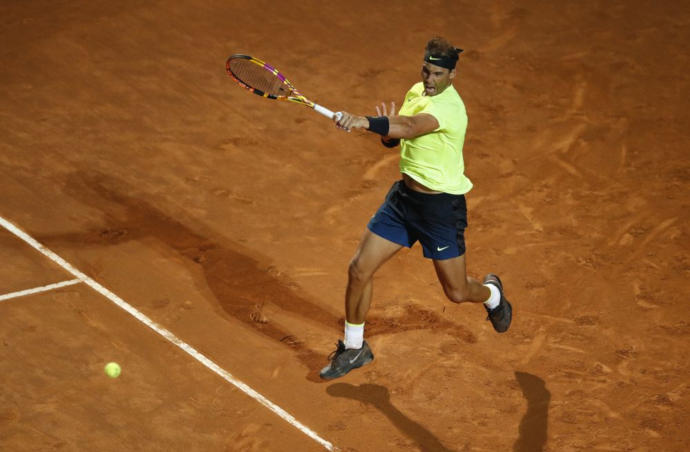 Spain's Rafael Nadal in action during his second round match against Spain's Pablo Carreno-Busta in the Italian Open in Rome September 16, 2020. — Reuters pic