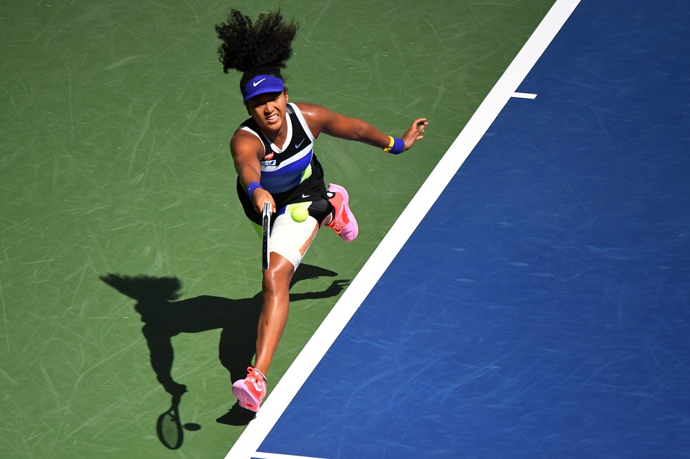 Naomi Osaka (pic) hits a forehand against Marta Kostyuk on Day 5 of the 2020 US Open tennis tournament at USTA Billie Jean King National Tennis Centre September 4, 2020. ― Reuters pic