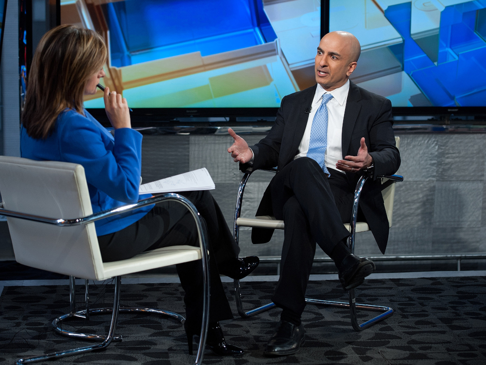 In this file picture taken February 17, 2016, FOX Business Network's Maria Bartiromo interviews Minneapolis Federal Reserve president Neel Kashkari at FOX Studios in New York City. — D Dipasupil / Getty Images North America via AFP