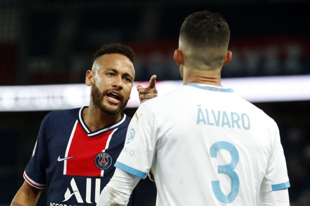 Paris St Germain's Neymar clashes with Olympique de Marseille's Alvaro Gonzalez at Parc des Princes, Paris, September 13, 2020. — Reuters pic
