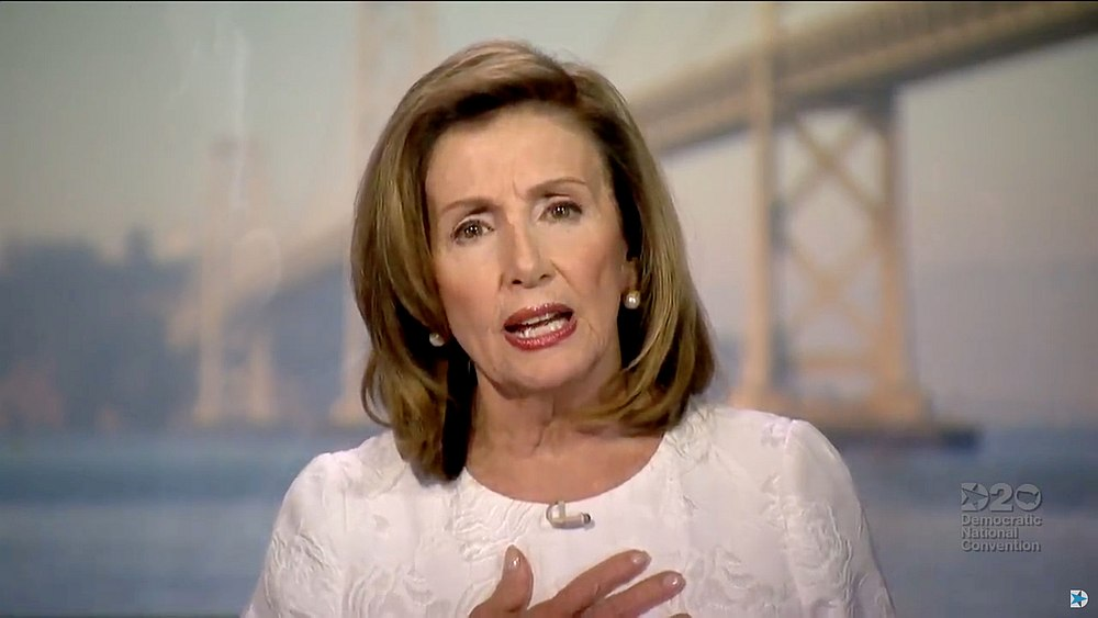 Speaker of the House Nancy Pelosi speaks during the virtual 2020 Democratic National Convention over video links from the originally planned site of the convention in Milwaukee, Wisconsin August 19, 2020. — Pool pic via Reuters