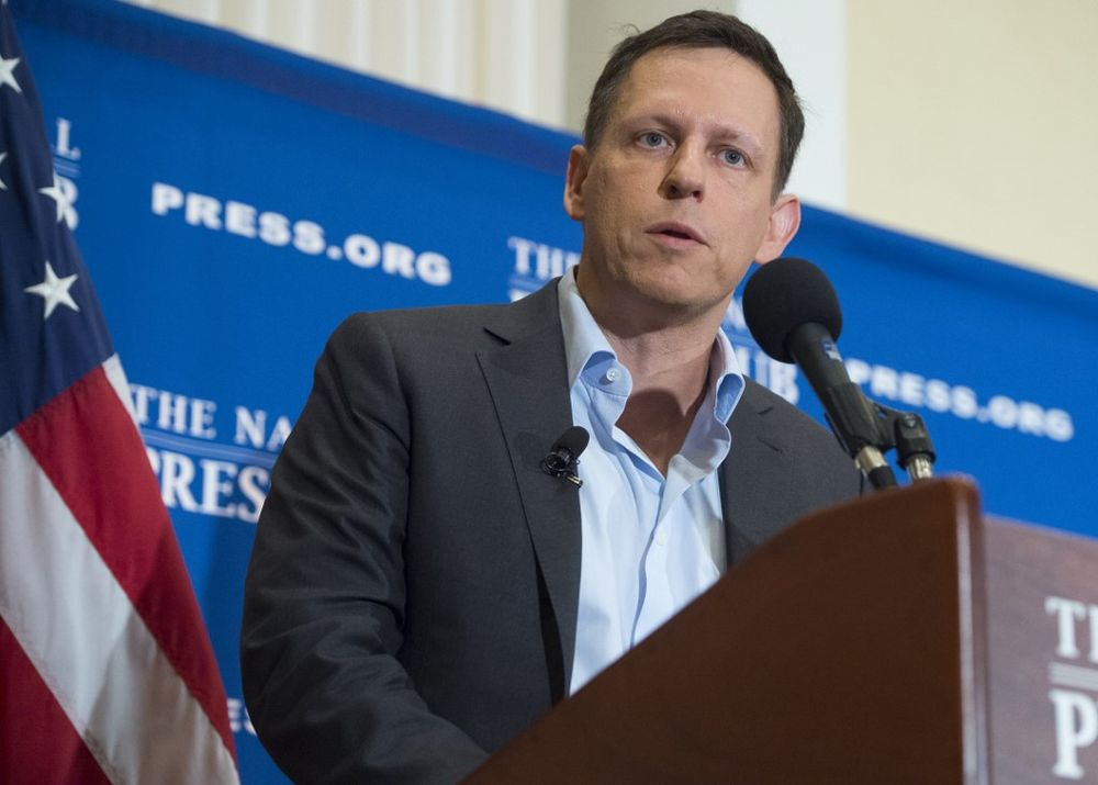 In this file photo taken on October 31, 2016 Peter Thiel, PayPal founder-turned-venture-capitalist, discusses his support for US Republican presidential nominee Donald Trump, at the National Press Club in Washington, DC. — AFP pic