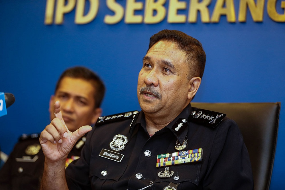 Penang police chief Datuk Shahabudin Abd Manan speaks to reporters at the South Seberang Perai district police station September 1, 2020. ― Picture by Sayuti Zainudin