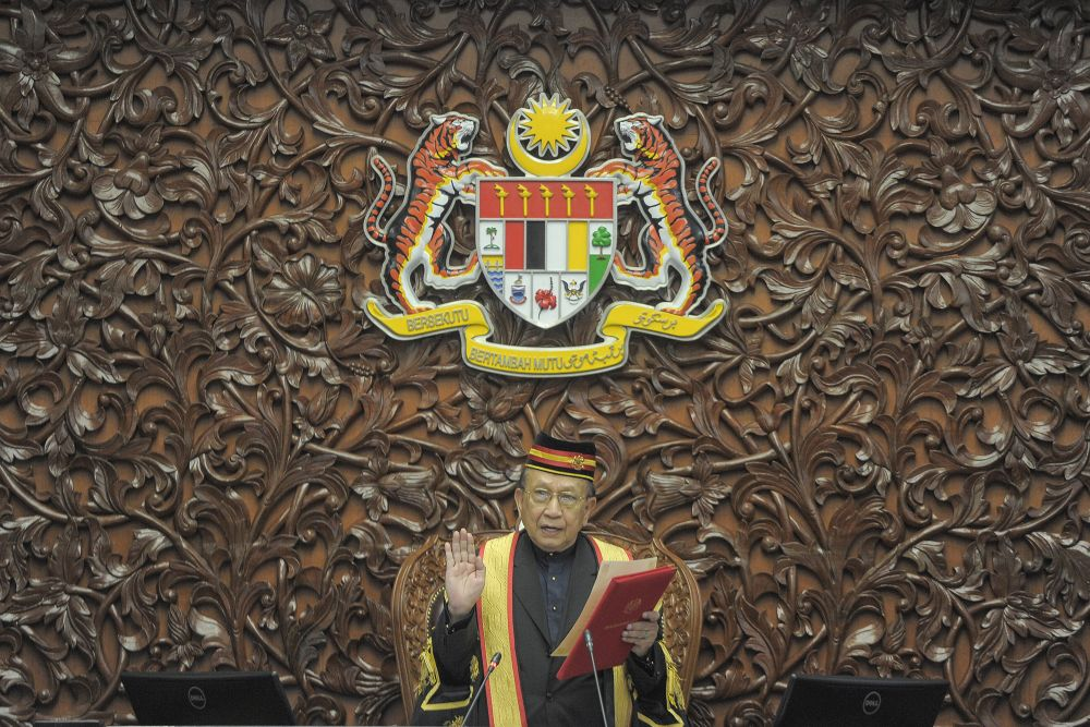 Tan Sri Rais Yatim is sworn in as the new Dewan Negara Speaker at Parliament, Kuala Lumpur on September 2, 2020. ― Picture by Shafwan Zaidon