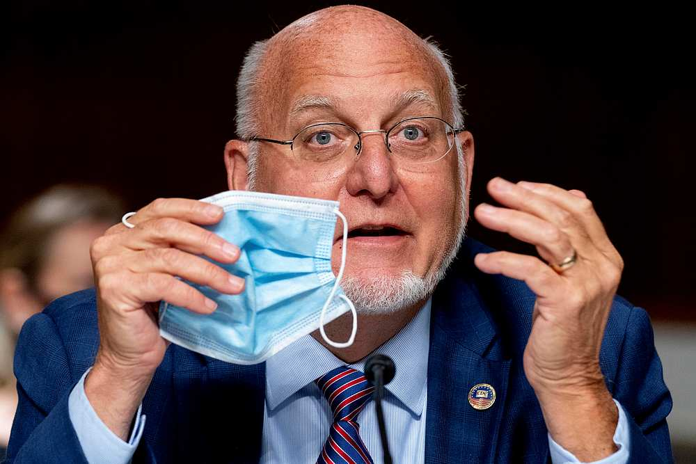 CDC Director Dr Robert Redfield speaks at a Senate hearing on Capitol Hill, Washington September 16, 2020. — Pool pic via Reuters