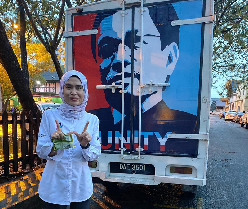 Rina Jainal (pic) defeated Barisan veteran Chaya Sulaiman by a mere 10 votes in Kukusan. — Picture via Facebook