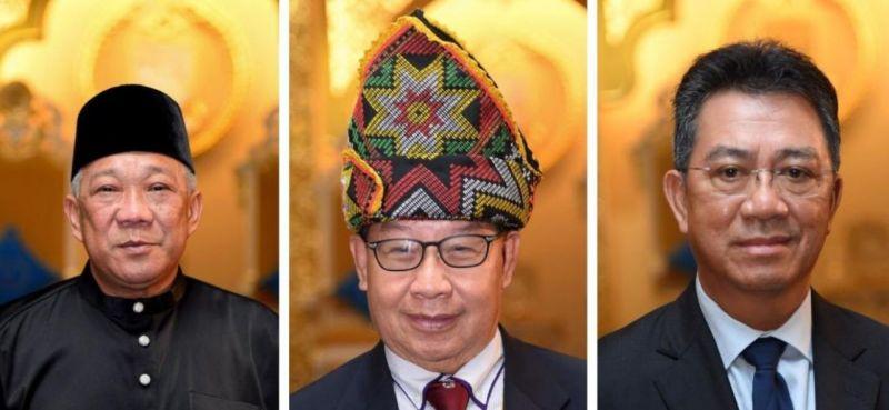 (From left) Datuk Seri Bung Moktar Radin, Datuk Jeffrey Kitingan and Datuk Joachim Gunsalam were named Sabah deputy chief ministers yesterday. — Bernama pic