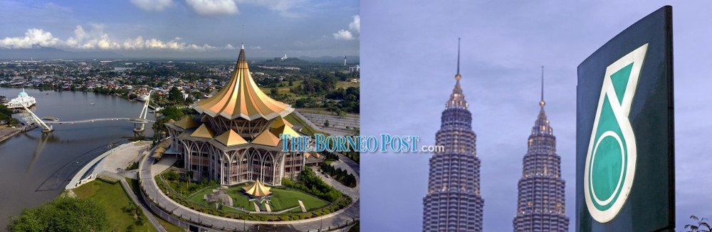 Picture of Sarawak's Legislative Assembly building in Kuching (left) and the Petronas Twin Towers in Kuala Lumpur. — Borneo Post pic