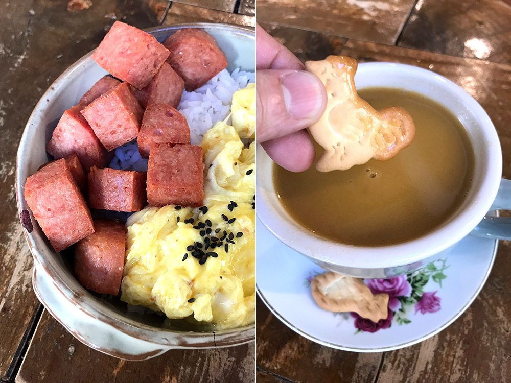 Luncheon meat rice bowl with scrambled eggs (left). Keto-friendly butter coffee (right).