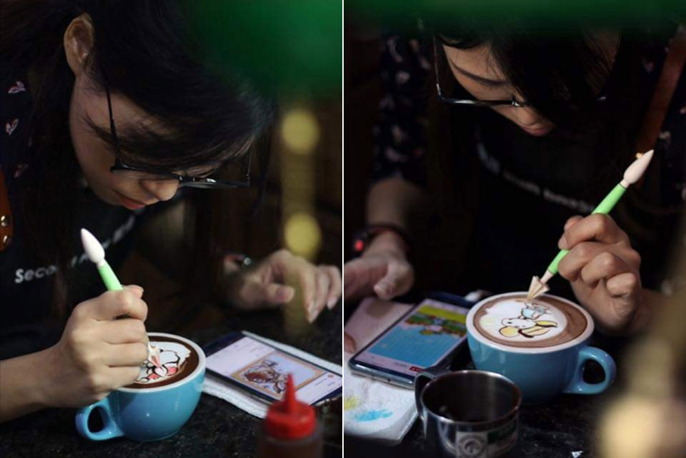 Jee's passion for colourful 'coffee art' etching draws regulars and new customers alike.