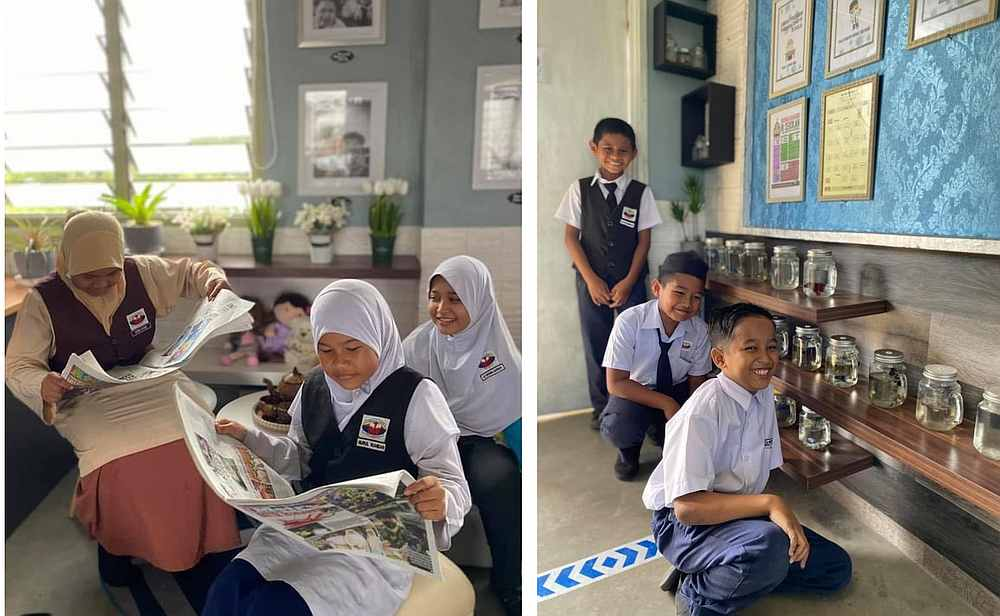Students have been enjoying reading and caring for their fish in jars in the newly decorated classroom. — Picture courtesy of Syahril Faiza Zakarian
