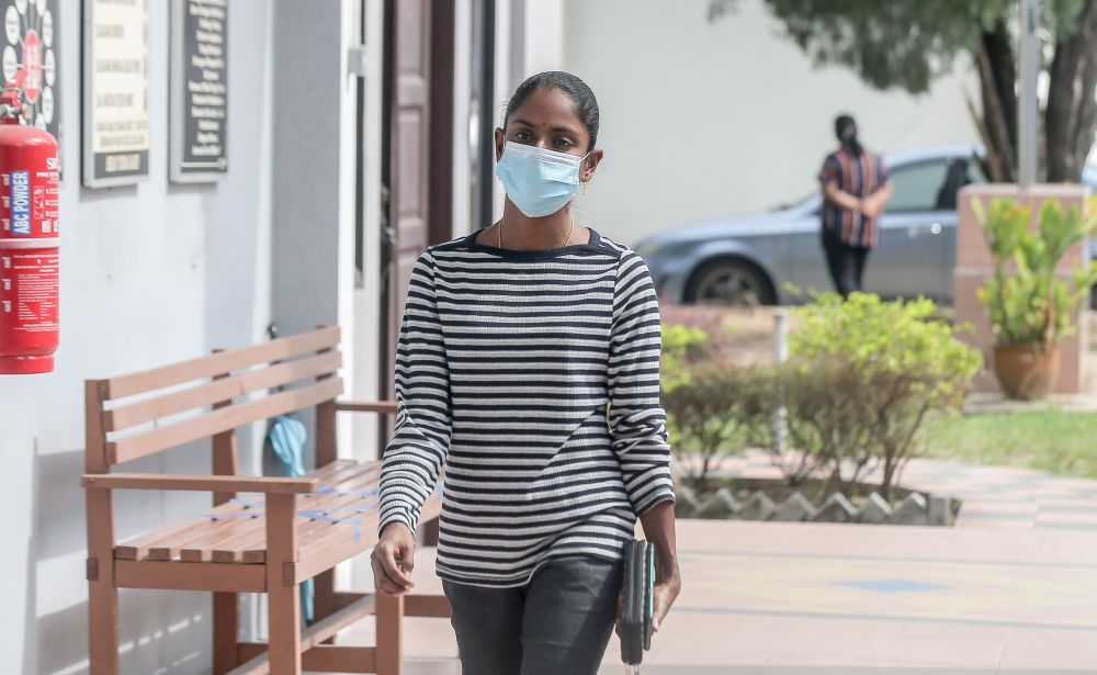 Malaysian YouTube sensation S. Pavithra is seen at the Ipoh Magistrate's Court September 17, 2020. — Picture by Farhan Najib